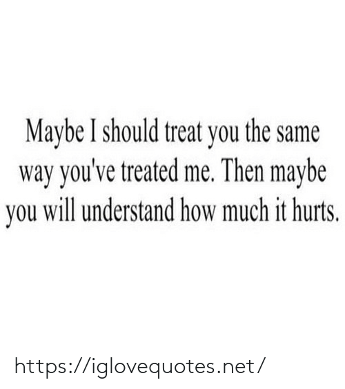 You Will: Maybe I should treat you the same  way you've treated me. Then maybe  you will understand how much it hurts. https://iglovequotes.net/