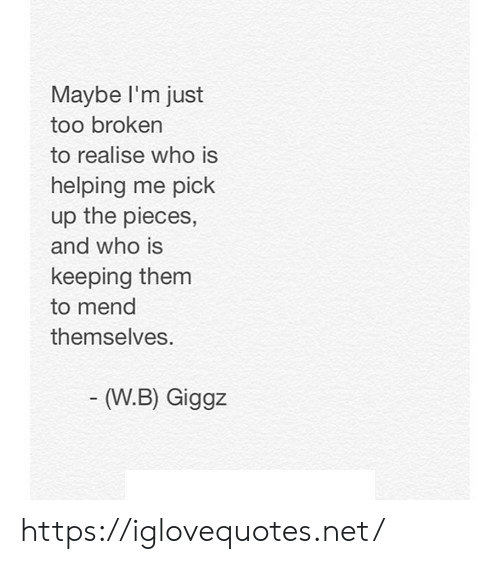 Net, Who, and Them: Maybe I'm just  too broken  to realise who is  helping me pick  up the pieces,  and who is  keeping them  to mend  themselves  (W.B) Giggz https://iglovequotes.net/