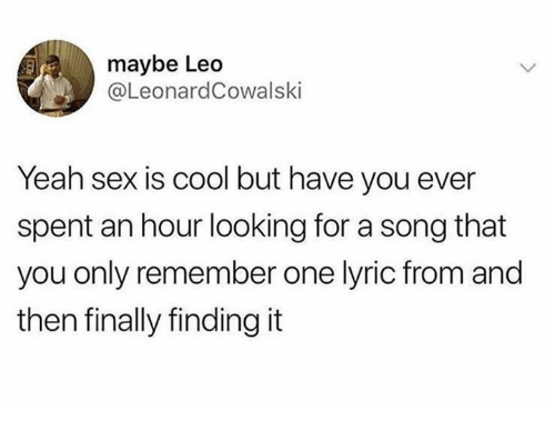 Dank, Sex, and Yeah: maybe Leo  @LeonardCowalski  Yeah sex is cool but have you ever  spent an hour looking for a song that  you only remember one lyric from and  then finally finding it