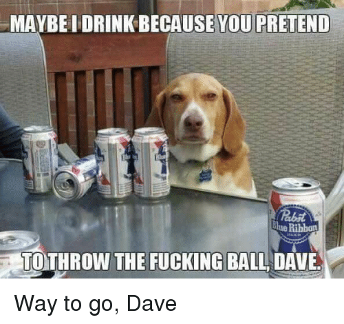 Way To Go: MAYBEI DRINK BECAUSE YOU PRETEND  lue Ribbon  TOTHROW THE FUCKING BALL DAVE Way to go, Dave