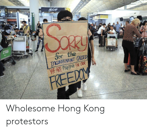 Hong Kong, Inconvenience, and Wholesome: McCafe  MA  Sor the  INCONVENIENCE CHLISED  WE ARE FISHTING FR QUR  FREEDOM Wholesome Hong Kong protestors