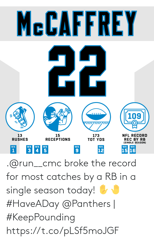 Panthers: MCCAFFREY  22  109  13  RUSHES  173  TOT YDS  15  RECEPTIONS  NFL RECORD  REC BY RB  (SINGLE SEASON)  WK  WK  WK  WK  WK  WK  WK  WK  15 16  12  3 45  OK .@run__cmc broke the record for most catches by a RB in a single season today! ✋🤚 #HaveADay  @Panthers | #KeepPounding https://t.co/pLSf5moJGF