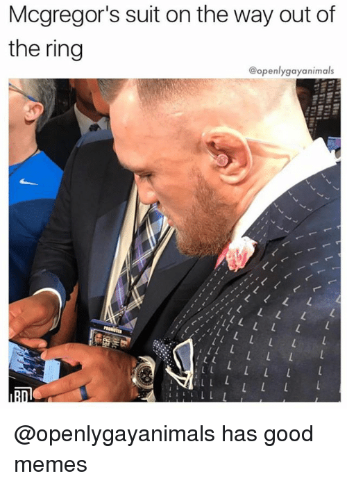 Of The Ring: Mcgregor's suit on the way out of  the ring  @openlygayanimals @openlygayanimals has good memes