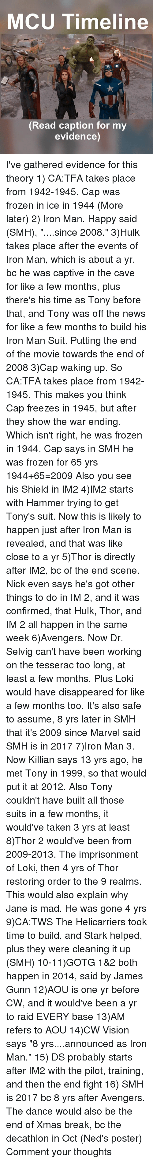 """tonys: MCU Timeline  A,  Read caption for my  evidence) I've gathered evidence for this theory 1) CA:TFA takes place from 1942-1945. Cap was frozen in ice in 1944 (More later) 2) Iron Man. Happy said (SMH), """"....since 2008."""" 3)Hulk takes place after the events of Iron Man, which is about a yr, bc he was captive in the cave for like a few months, plus there's his time as Tony before that, and Tony was off the news for like a few months to build his Iron Man Suit. Putting the end of the movie towards the end of 2008 3)Cap waking up. So CA:TFA takes place from 1942-1945. This makes you think Cap freezes in 1945, but after they show the war ending. Which isn't right, he was frozen in 1944. Cap says in SMH he was frozen for 65 yrs 1944+65=2009 Also you see his Shield in IM2 4)IM2 starts with Hammer trying to get Tony's suit. Now this is likely to happen just after Iron Man is revealed, and that was like close to a yr 5)Thor is directly after IM2, bc of the end scene. Nick even says he's got other things to do in IM 2, and it was confirmed, that Hulk, Thor, and IM 2 all happen in the same week 6)Avengers. Now Dr. Selvig can't have been working on the tesserac too long, at least a few months. Plus Loki would have disappeared for like a few months too. It's also safe to assume, 8 yrs later in SMH that it's 2009 since Marvel said SMH is in 2017 7)Iron Man 3. Now Killian says 13 yrs ago, he met Tony in 1999, so that would put it at 2012. Also Tony couldn't have built all those suits in a few months, it would've taken 3 yrs at least 8)Thor 2 would've been from 2009-2013. The imprisonment of Loki, then 4 yrs of Thor restoring order to the 9 realms. This would also explain why Jane is mad. He was gone 4 yrs 9)CA:TWS The Helicarriers took time to build, and Stark helped, plus they were cleaning it up (SMH) 10-11)GOTG 1&2 both happen in 2014, said by James Gunn 12)AOU is one yr before CW, and it would've been a yr to raid EVERY base 13)AM refers to AOU 14)CW Vision says """"8 yrs...."""
