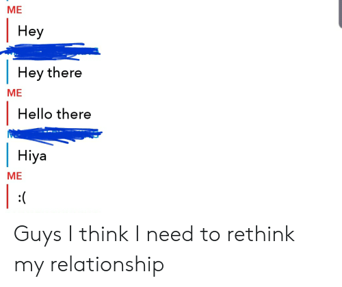 Hello, Think, and Relationship: ME  Неу  Hey there  МЕ  Hello there  Hiya  ME  |  :( Guys I think I need to rethink my relationship