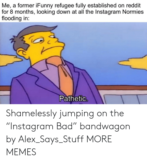 "refugee: Me, a former iFunny refugee fully established on reddit  for 8 months, looking down at all the Instagram Normies  flooding in:  Pathetic. Shamelessly jumping on the ""Instagram Bad"" bandwagon by Alex_Says_Stuff MORE MEMES"