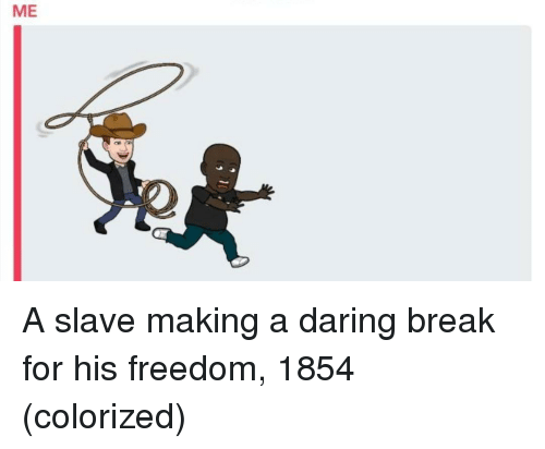Break, Freedom, and Making A: ME A slave making a daring break for his freedom, 1854 (colorized)
