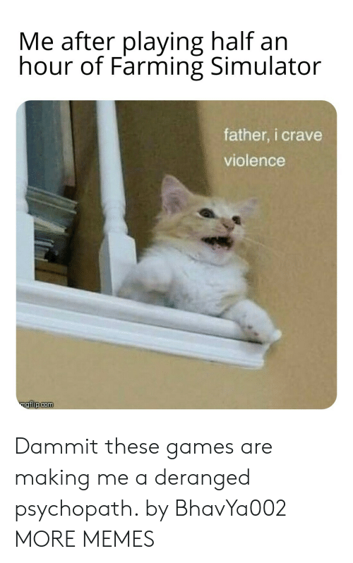 Simulator: Me after playing half an  hour of Farming Simulator  father, i crave  violence  ngiip.com Dammit these games are making me a deranged psychopath. by BhavYa002 MORE MEMES