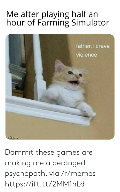 Memes, Games, and Farming: Me after playing half an  hour of Farming Simulator  father, i crave  violence  ngiip.com Dammit these games are making me a deranged psychopath. via /r/memes https://ift.tt/2MM1hLd