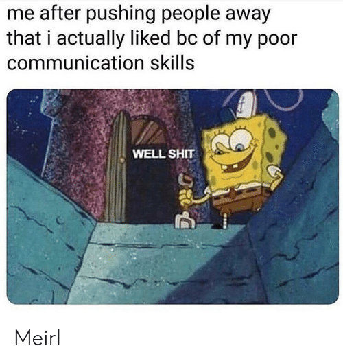 Shit, MeIRL, and Communication: me after pushing people away  that i actually liked bc of my poor  communication skills  WELL SHIT Meirl
