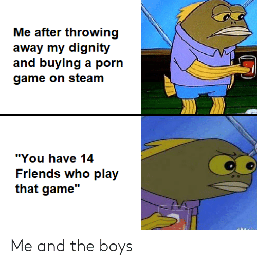 """dignity: Me after throwing  away my dignity  and buying a porn  game on steam  """"You have 14  Friends who play  that game"""" Me and the boys"""