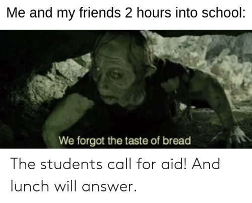 Friends, School, and Lord of the Rings: Me and my friends 2 hours into school:  We forgot the taste of bread The students call for aid! And lunch will answer.