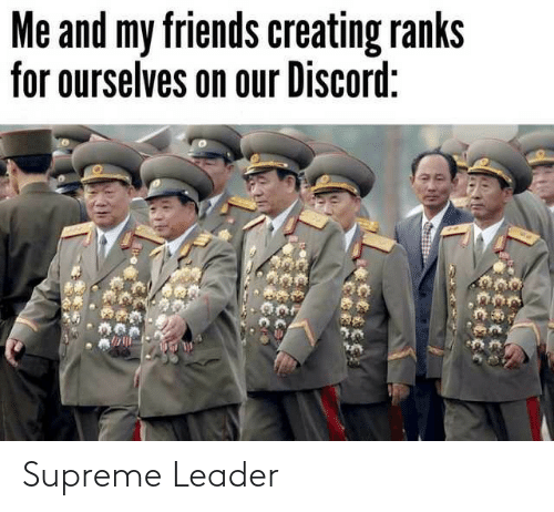 my friends: Me and my friends creating ranks  for ourselves on our Discord: Supreme Leader