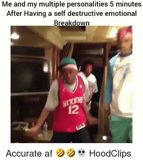 afs: Me and my multiple personalities 5 minutes  After Having a self destructive emotional  Breakdown  12 Accurate af 🤣🤣💀 HoodClips