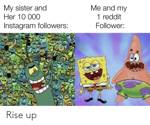 10 000: Me and my  My sister and  Her 10 000  1 reddit  Instagram followers:  Follower: Rise up