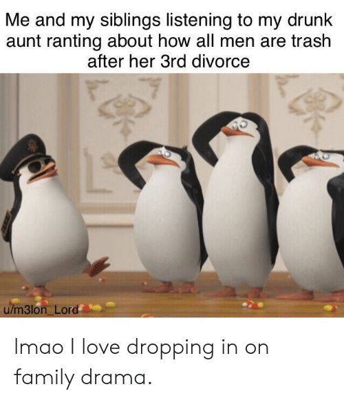ranting: Me and my siblings listening to my drunk  aunt ranting about how all men are trash  after her 3rd divorce  u/m3lon Lord lmao I love dropping in on family drama.