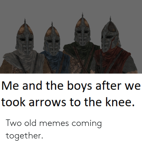 Arrows: Me and the boys after we  took arrows to the knee. Two old memes coming together.