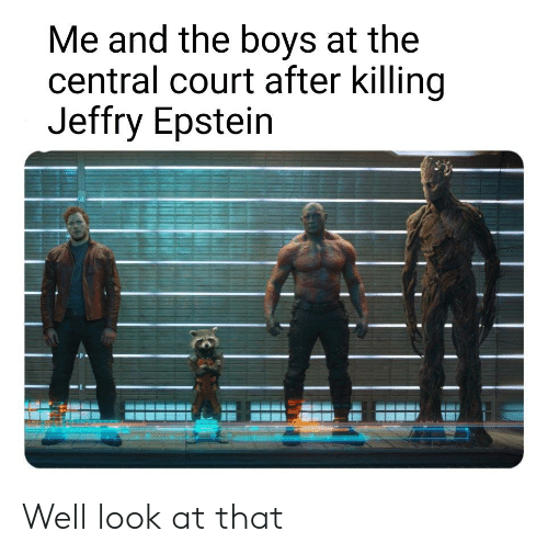 Dank Memes, Boys, and Court: Me and the boys at the  central court after killing  Jeffry Epstein Well look at that