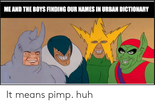 Huh, Reddit, and Urban Dictionary: ME AND THE BOYS FINDING OUR NAMES IN URBAN DICTIONARY It means pimp. huh