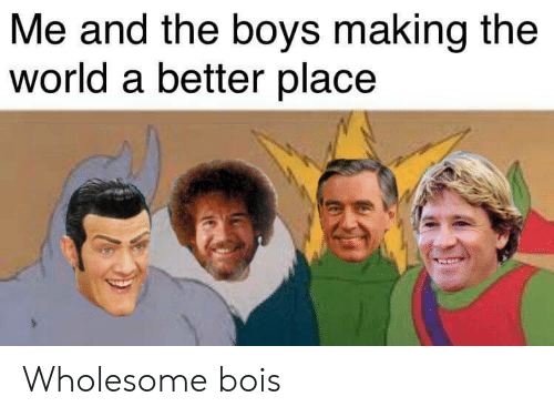 World, Wholesome, and Boys: Me and the boys making the  world a better place Wholesome bois