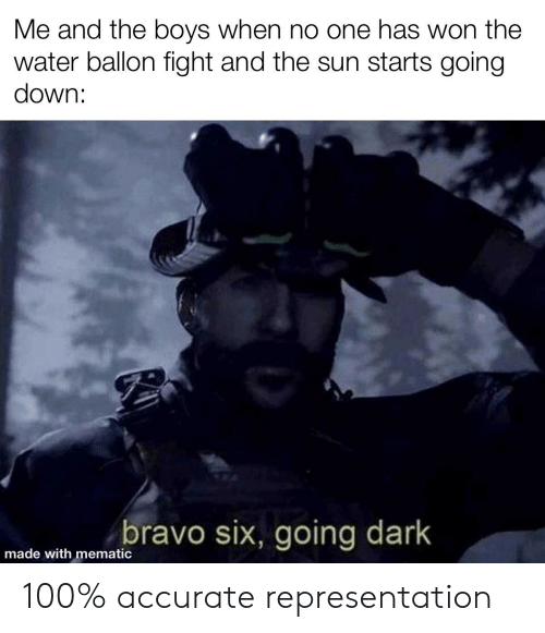 Bravo, Water, and Dank Memes: Me and the boys when no one has won the  water ballon fight and the sun starts going  down:  bravo six, going dark  made with mematic 100% accurate representation
