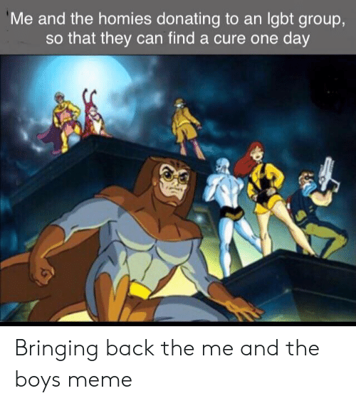 Meme, Reddit, and Back: Me and the homies donating to an Igbt group,  so that they can find a cure one day Bringing back the me and the boys meme