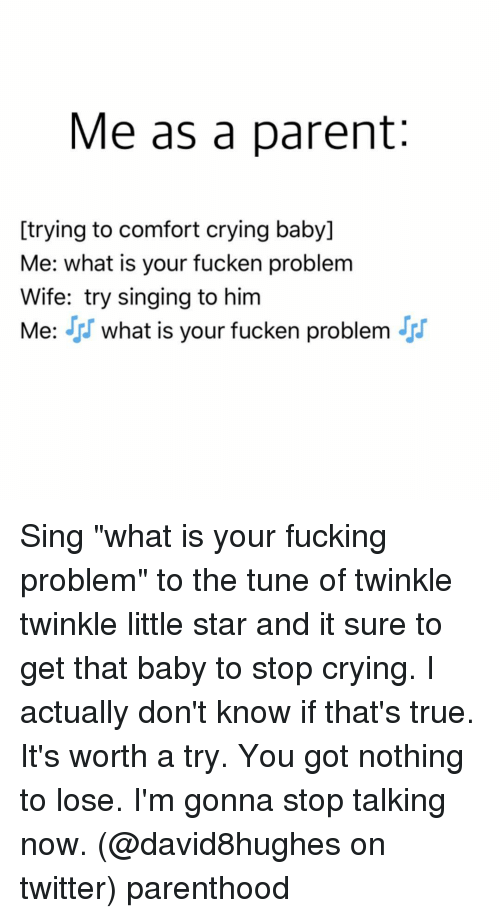 "crying babies: Me as a parent  [trying to comfort crying baby]  Me: what is your fucken problem  Wife: try singing to him  Me: J. what is your fucken problem  JJ Sing ""what is your fucking problem"" to the tune of twinkle twinkle little star and it sure to get that baby to stop crying. I actually don't know if that's true. It's worth a try. You got nothing to lose. I'm gonna stop talking now. (@david8hughes on twitter) parenthood"