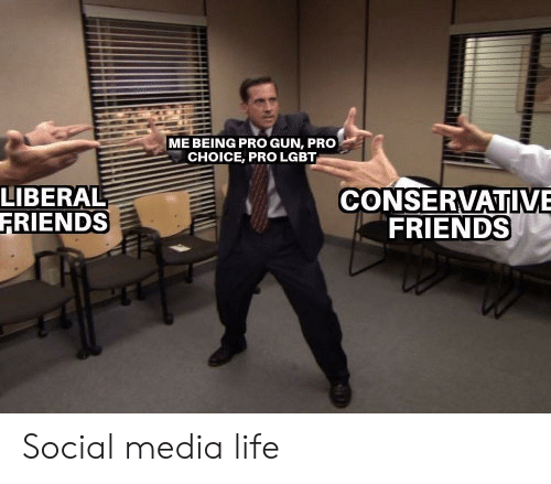Friends, Lgbt, and Life: ME BEING PRO GUN, PRO  CHOICE, PRO LGBT  LIBERAL  FRIENDS  CONSERVATIVE  FRIENDS Social media life