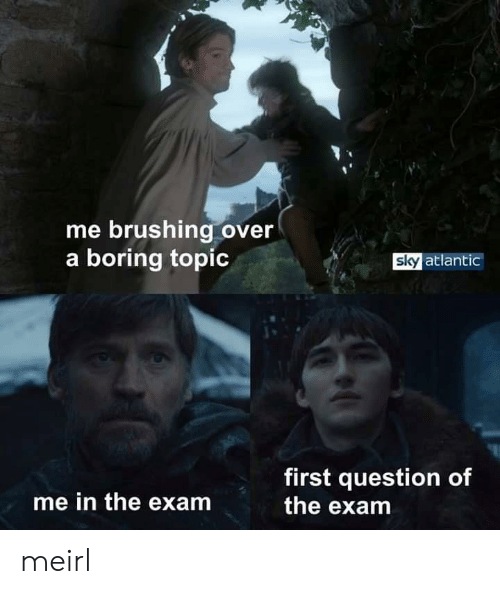 MeIRL, Sky, and First: me brushing over  a boring topic  sky atlantic  first question of  the exam  me in the exam meirl