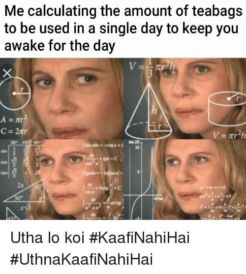 Memes, Single, and 🤖: Me calculating the amount of teabags  to be used in a single day to keep you  awake for the day  300  600  inxdx-cosx+C  10  sin  cos  2  gade  de Al  sin x  tan  2x  Blad  xv3 Utha lo koi #KaafiNahiHai #UthnaKaafiNahiHai