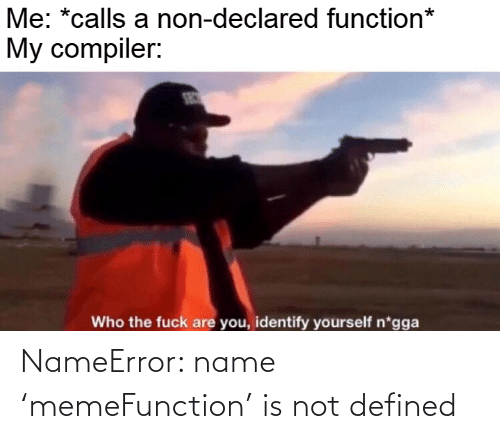 who the fuck: Me: *calls a non-declared function*  My compiler:  SEC  Who the fuck are you, identify yourself n*gga NameError: name 'memeFunction' is not defined