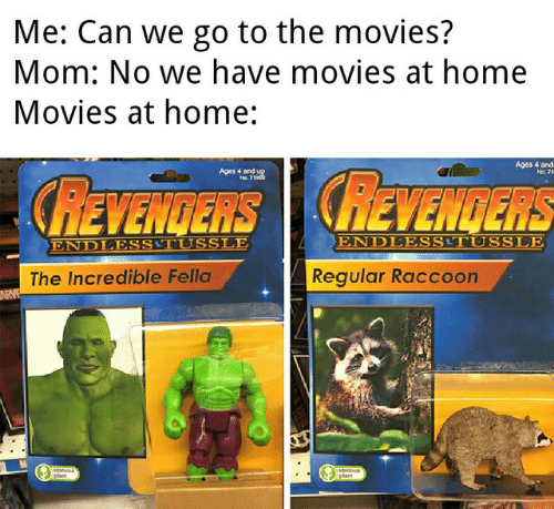 Movies, Home, and Raccoon: Me: Can we go to the movies?  Mom: No we have movies at home  Movies at home:  Ages 4 and  Aestou  REVENGERS REVENGERS  ENDLESSTUSSLE  ENDLESSTUSSLE  Regular Raccoon  The Incredible Fella