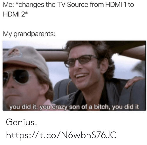 Bitch, Crazy, and Funny: Me: *changes the TV Source from HDMI 1 to  HDMI 2*  My grandparents:  you did it. you crazy son of a bitch, you did it Genius. https://t.co/N6wbnS76JC