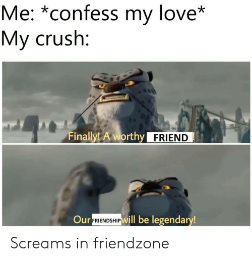 Crush, Friendzone, and Love: Me: *confess my love*  My crush:  Finally! A worthy FRIEND  Our  FRIENDSHIPWill be legendary! Screams in friendzone