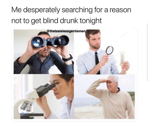 Drunk, Reason, and For: Me desperately searching for a reason  not to get blind drunk tonight  thetastelessgentleme