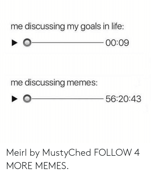 Goals In Life: me discussing my goals in life:  00:09  me discussing memes:  56:20:43 Meirl by MustyChed FOLLOW 4 MORE MEMES.