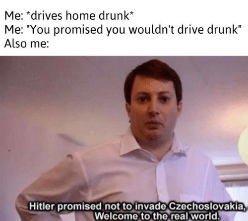 """Drunk, Drive, and Hitler: Me: *drives home drunk*  Me: """"You promised you wouldn't drive drunk""""  Also me:  Hitler promised not to invade Czechoslovakia  Welcome to the real world"""
