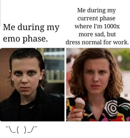 Emo, Lol, and Work: Me during my  current phase  Me during my  where I'm 1000x  more sad, but  emo phase  dress normal for work.  lol ¯\_(ツ)_/¯