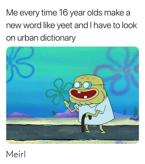 A New: Me every time 16 year olds make a  new word like yeet and I have to look  on urban dictionary Meirl