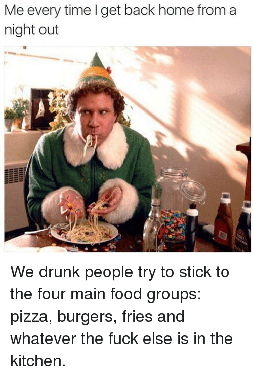 food groups: Me every time I get back home from a  night out We drunk people try to stick to the four main food groups: pizza, burgers, fries and whatever the fuck else is in the kitchen.