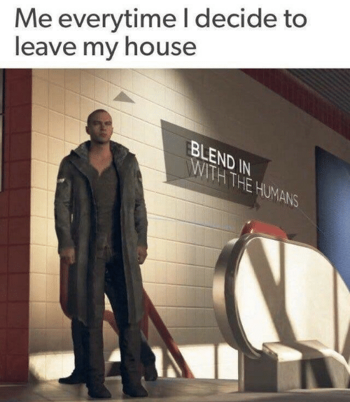 My House, House, and Humans: Me everytimeI decide to  leave my house  BLEND IN  WITH THE HUMANS