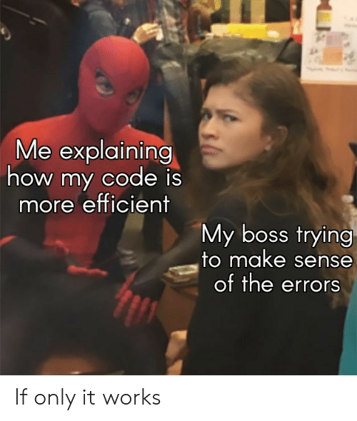 efficient: Me explaining  how my code is  more efficient  My boss trying  to make sense  of the errors If only it works