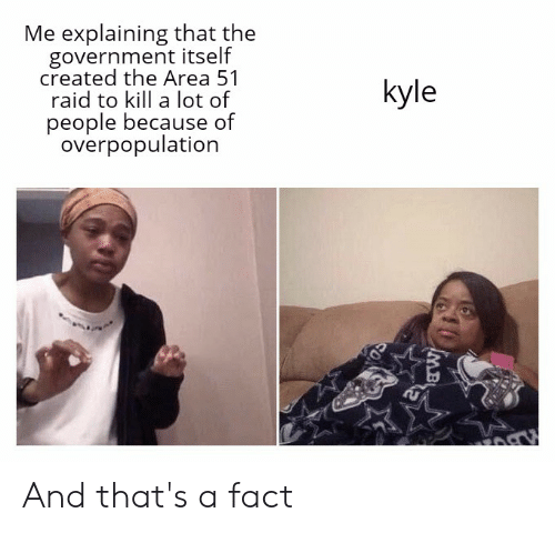 Reddit, Government, and Area 51: Me explaining that the  government itself  created the Area 51  raid to kill a lot of  kyle  people because of  overpopulation  MB And that's a fact