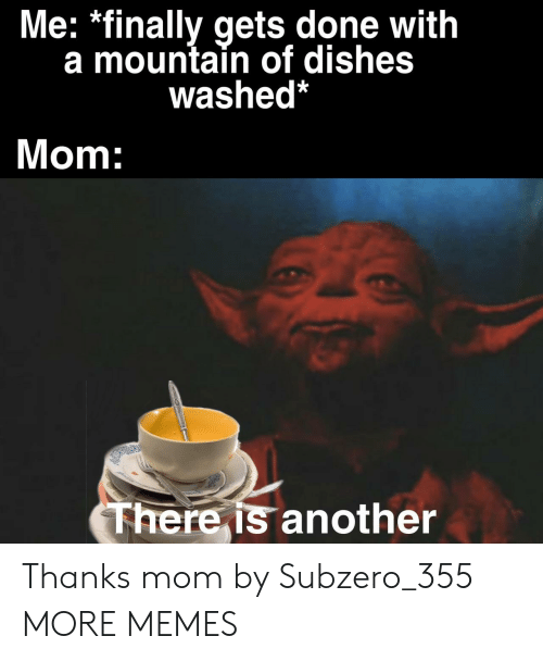 Dank, Memes, and Target: Me: *finally gets done with  a mountain of dishes  washed*  Mom:  There is another Thanks mom by Subzero_355 MORE MEMES