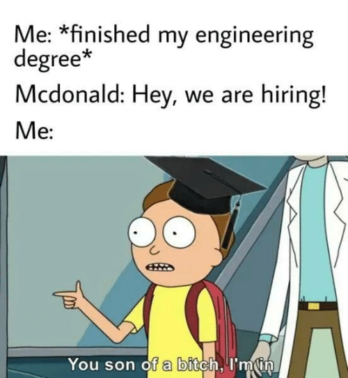 Im In: Me: *finished my engineering  degree*  Mcdonald: Hey, we are hiring!  Me:  You son of a bitch, I'm in