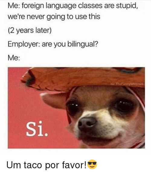 Memes, Never, and 🤖: Me: foreign language classes are stupid,  we're never going to use this  (2 years later)  Employer: are you bilingual?  Me:  G: TheFunnylotrovert  Si. Um taco por favor!😎
