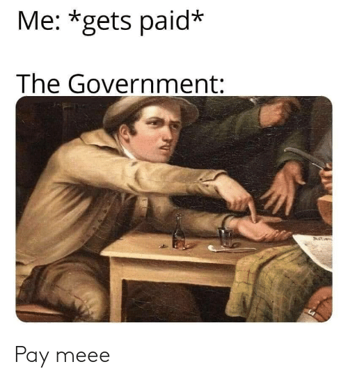 Government,  Gets, and Paid: Me: *gets paid*  The Government: Pay meee