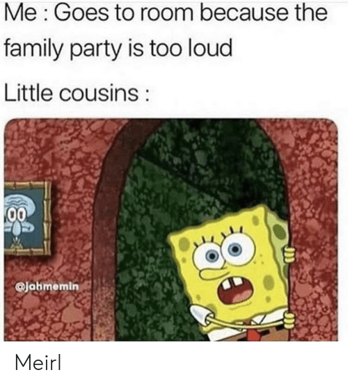 Family, Party, and MeIRL: Me: Goes to room because the  family party is too loud  Little cousins  00  @Jahmemin Meirl
