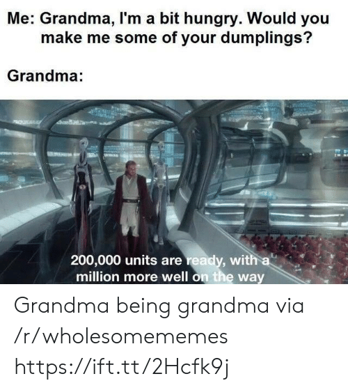 Me Some: Me: Grandma, I'm a bit hungry. Would you  make me some of your dumplings?  Grandma:  200,000 units are ready, with a  million more well on the way Grandma being grandma via /r/wholesomememes https://ift.tt/2Hcfk9j