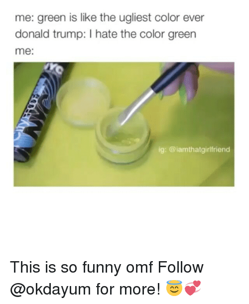 Trump Hate: me: green is like the ugliest color ever  donald trump: hate the color green  me:  ig: @iam thatgirlfriend This is so funny omf Follow @okdayum for more! 😇💞